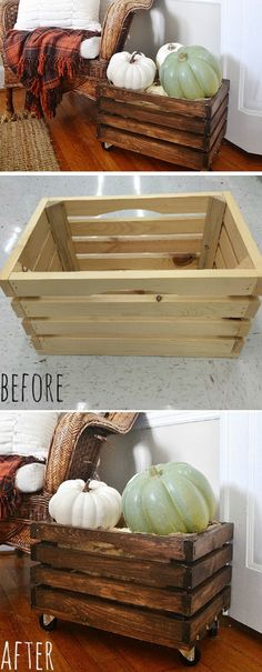 Rustic Rolling Crates for Aiden's toys on porch and for under the bakery shelves.