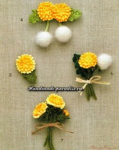Best 12 Easy and Cute Free Crochet Flowers Pattern Image Ideas for new Season 2019 Part crochet flowers; Crochet Motif Patterns, Granny Square Crochet Pattern, Crochet Squares, Knitting Patterns, Crochet Leaves, Knitted Flowers, Crochet Brooch, Knit Crochet, Japanese Crochet