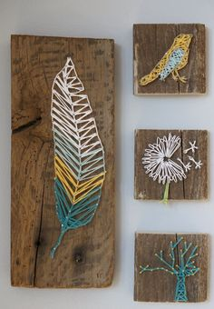 DIY String Art Projects - DIY Nail And Thread String Art - Cool, Fun and Easy Letters, Patterns and Wall Art Tutorials for String Art - How to Make Names, Words, Hearts and State Art for Room Decor and DIY Gifts - fun Crafts and DIY Ideas for Teens and Ad String Art Diy, Diy Wall Art, String Art Letters, String Art Heart, String Art Tutorials, Nail String, Diy Artwork, Wood Crafts, Diy And Crafts