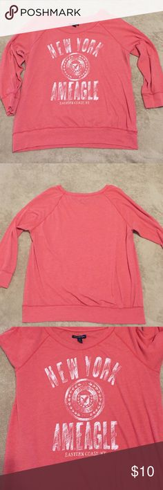 American Eagle Outfitters T Shirt L Salmon - Orange 3/4 length sleeve T shirt. Good condition. Non smoking home American Eagle Outfitters Tops