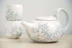 ready to ship - Hand Painted Ceramic Tea Set -  Babys Breath Collection. $200.00, via Etsy.