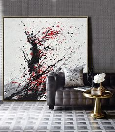 CZ ART DESIGN - Minimalist Drip Painting black, white, grey, red, abstract painting canvas a Drip Painting, House Painting, Painting Canvas, Paint Drip Art, Canvas Art Projects, Living Room Canvas, Minimalist Painting, Art Moderne, Abstract Wall Art