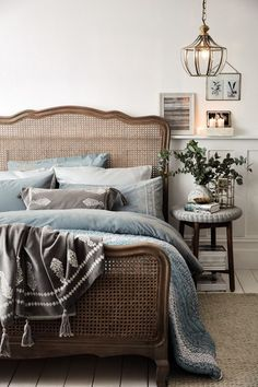 This restful blue bedroom idea from Junipa sees velvet cushions layered over emb. - This restful blue bedroom idea from Junipa sees velvet cushions layered over embroidered bed linen, - Blue Bedroom, Dream Bedroom, Bedroom Decor, Linen Bedroom, Bedroom Signs, Decorating Bedrooms, Bedroom Apartment, Bedroom Ideas, Bed Linen Design