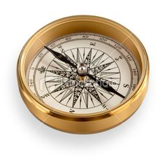 High Quality Brass Compass with clipping path Royalty Free Stock Photo