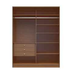 Manhattan Comfort Chelsea - inch Wide Full Wardrobe with 3 Drawers in Maple Cream Closet Organizing Systems, Tall Cabinet Storage, Storage, Brown Wood, Drawers, Adjustable Shelving, Closet System, Online Furniture Shopping, Sliding Wardrobe