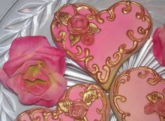 One Dozen Pink Gilded Heart Sugar cookies by AlisSweetTooth, $27.00