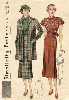 1930s skirt, blouse, and swagger coat.