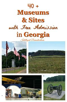 40 Plus Museums and Sites with Free Admission in Georgia. Place to visit for free in Georgia. Historical museums and sites with free admission in Georgia. I Want To Travel, Travel Usa, Travel Tips, Travel Guides, Travel Destinations, Free Museums, Free Admission, United States Travel, Weekend Trips