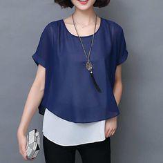 Women Chiffon Blouse Short sleeve //Price: $12.99 & FREE Shipping //