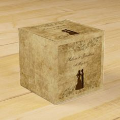 Brown Vintage paper Parchment Bride Groom Once upon a time Wedding Favor Box by #PLdesign #VintageWedding #WeddingGift
