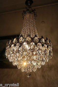 Antique Vintage Big French  Basket Style Crystal Chandelier Lamp 1940s.16in