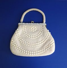 Stunning 1960's vintage large white plastic beaded purse. Hand made in Hong Kong.