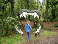 ferocious jaws (shark not dinosaur) entry to the hall - kids walk through the…