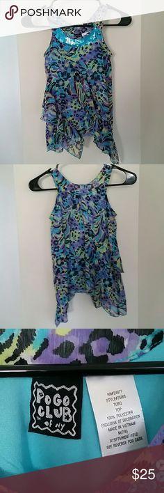Girls flowy bling top! Beautiful never worn Teal, green, Blue, purple & Black top. 7-8 Medium 10 Deep Shirts & Tops Blouses