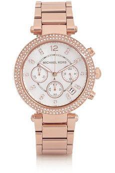 Michael Kors Parker Swarovski crystal-embellished rose gold-tone watch | NET-A-PORTER