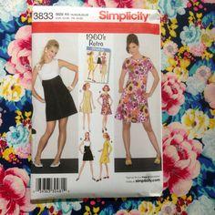 Simplicity 3833: 1960s Retro A-line Dress sizes 14-22