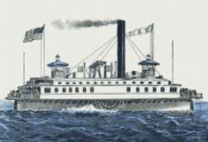 New York Ferry Boat Counted Cross Stitch Pattern / Chart,  Currier & Ives, Instant Digital Download   (AP380) Ferry Boat, Currier And Ives, Counted Cross Stitch Patterns, Willis Tower, Transportation, Travel, Boats, Ships, Chart