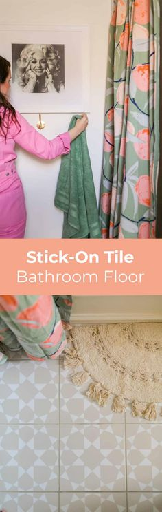 Kids Mini Bathroom Refresh - A Beautiful Mess Stick On Tiles Bathroom, Bathroom Floor Tiles, Double Shower Curtain, Types Of Rooms, Glass Shower Doors, Beautiful Mess, Mirror With Lights, Color Stories, Things To Think About