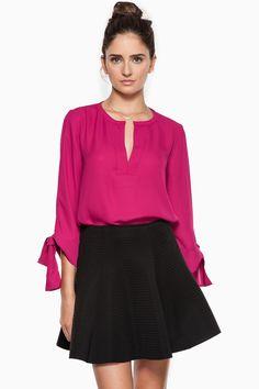 Karlie Blouse in Fuchsia / Shop Sosie #3/4 #sleeve #blouse