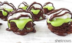 Fudgy mint brownie bites drizzled with chocolate