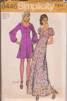 Vintage 1970s sewing pattern for mini or maxi length dress with flared skirt misses size 14 Simplicity 9446 CUT and COMPLETE