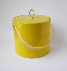 Vintage Georges Briard Yellow Vinyl Ice Bucket Ya'll $20