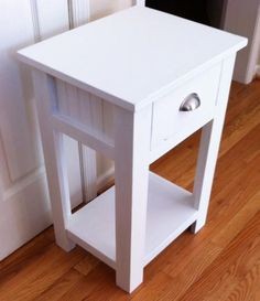 Simple white night stand plans. I really like this one. Cost is about $25 to make one stand. Intermediate level 10-12 hours weekend project.