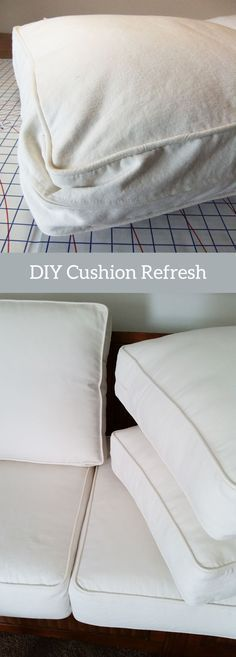 DIY Cushion Refresh for Your Sofa and Armchair Simple how-to instructions for making the back cushions on your sofa and armchair look new again. The post DIY Cushion Refresh for Your Sofa and Armchair appeared first on Upholstery Ideas. Furniture Fix, Reupholster Furniture, Upholstered Furniture, Furniture Projects, Furniture Makeover, Furniture Dolly, Coaster Furniture, Funky Furniture, Reupholster Outdoor Cushions