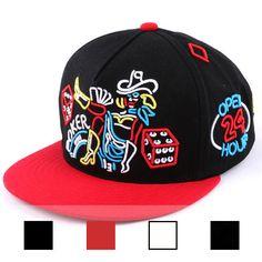 NEW NEON POKER DESIGNER BLACK RED HIP HOP SNAPBACK BASEBALL TRUCKER FITTED CAPS
