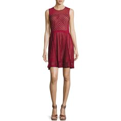French Connection Fast Score Striped-Lace Dress ($168) ❤ liked on Polyvore featuring dresses, red, red stripe dress, stripe dresses, red striped dress, lace cocktail dress and striped dress