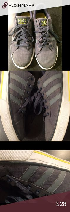 Adidas Gently worn. Grey with yellow trim. NEO adidas. Super comfortable adidas Shoes Athletic Shoes
