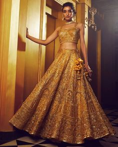 Best Outfits For The Sister Of The Bride & Groom (According To Wedding Functions) - Indian Bridal Wear, Indian Wedding Outfits, Indian Wear, Groom Outfit, Groom Dress, Indian Bride And Groom, Bride Groom, Function Dresses, Gold Lehenga