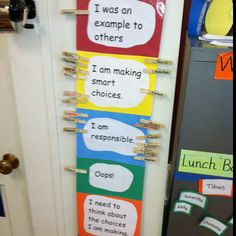 """Classroom management: each student has a clip that starts at """"I am responsible"""" throughout the day teacher moves up or down. If student ends day on the highest one they get a ticket. If they collect ten tickets, they get a prize. Works wonders"""