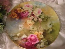 """""""ROMANTIC VICTORIAN ROSES"""" Absolutely Stunning Large 16"""" Antique Hand Painted Limoges France Charger Plaque Tray Plate Vintage Victorian Heirloom Floral Art China Painting Original ONE-OF-A-KIND Handmade Artistry Fine French Jean Pouyat Circa 1900"""