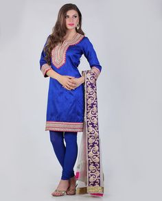 Meena Bazaar royal blue suit with patch on neck and net embroidered dupatta Rs.10,980