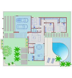 Arquiteto Natan Fontes: casa térrea - SIMONE Minimalist House Design, Minimalist Home, Drawing House Plans, Circle House, Craftsman Floor Plans, Home Design Floor Plans, Small Modern Home, Apartment Floor Plans, House Sketch