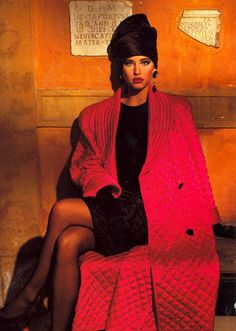 Valentino, Ensemble, photographed by Terence Donovan for Harper's Bazaar, 1985