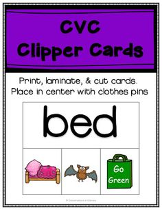 FREE CVC short vowel clip cards for word work decoding phonics activities. Great for guided reading word work, literacy centers and reading interventions! Fun Classroom Activities, Word Work Activities, Phonics Activities, Classroom Ideas, Reading Words, Guided Reading, Free Reading, Spelling Words, Cvc Words