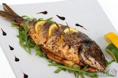 Photo about Fried fish with fresh herbs and lemon. Image of dining, dinner, cook - 18632364 Fish Recipes, Seafood Recipes, Cooking Recipes, Healthy Recipes, Protein, Yummy Food, Tasty, Grilled Fish, Portuguese Recipes