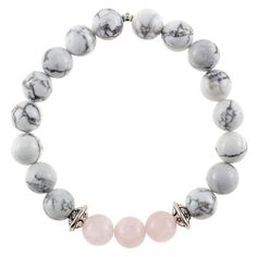 Howlite -Rose Quartz FeaturingRose Quartz, known to instill relaxation and compassion and help break negative thoughts. This bracelet donates to help cancer p