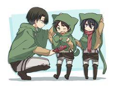 Chibi Mikasa, Eren and Levi, Shingeki No Kyojin