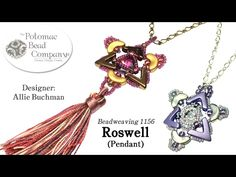Roswell Pendant YouTube free jewelry-making tutorial, with all supplies from Potomac Bead Company (www.potomacbeads.com.  Supplies include AVA Beads, Arcos Par Puca Beads, Potomac Crystal 10mm Rivoli, Miyuki seed beads, and your chois of tassels and chain.