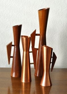 Set of 4 Vintage Mid Century Danish Modern Copper