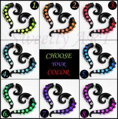 Fake gauge Earrings tribal style octopus tentacle by SweetlyART