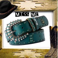 """MISS ME TOOLED LEATHER BELT Beautiful belt in green by MISS ME. NWT 41.5"""" long Miss Me Accessories Belts"""