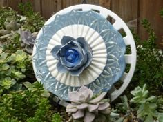 Plate Flowers. #300  Drought Resistant.        Garden Yard Art glass and ceramic plate flower