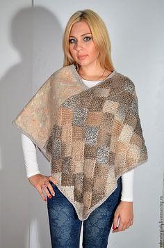 Buy Poncho art Entrelac - abstract, beige, handmade, architectural design, felt, mixed media Crochet Scarves, Crochet Shawl, Knit Crochet, Shawl Patterns, Knitting Patterns, Crochet Patterns, Beautiful Patterns, Free Knitting, Look