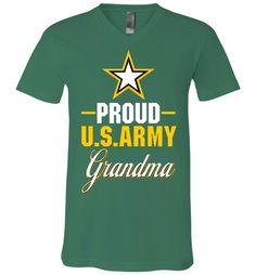 Proud U.S. Army Grandma Canvas Unisex V-Neck T-Shirt