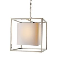 Studio: Eric Cohler Medium Caged Lantern in Polished Nickel with Natural Paper Shade by Visual Comfort SC5160PN
