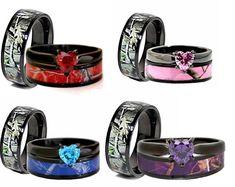 Camo Engagement Rings, Camo Wedding Rings, Camo Rings, Heart Wedding Rings, Engagement Sets, Diamond Wedding Bands, Wedding Engagement, Heart Ring, Hunting Wedding